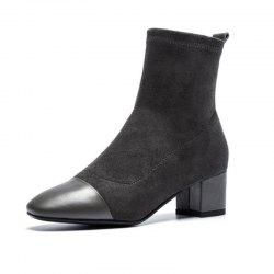 Pointy High-Heeled Ankle Boots For Women With Thick Heels -