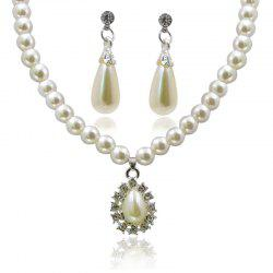 European Style Fashion Shiny Rhinestone Drops White Beaded Necklace Earring Set -