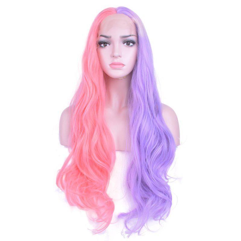 Outfit Synthetic Purple Mixed Pink Long Curly Lace Front Wigs For Women