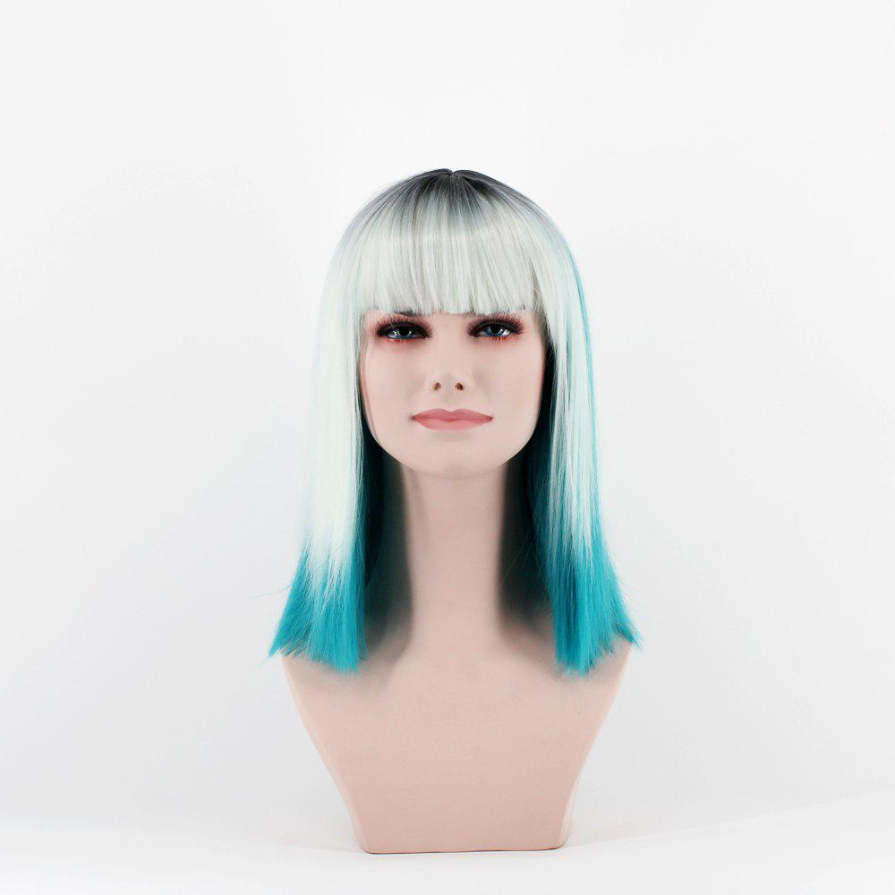 Buy mixed White and peacock blue high temperature wire wig