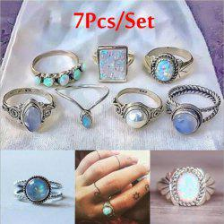 Set of 7 Pieces Women'S Fashion Colored Gem Pearl Ring Suit -