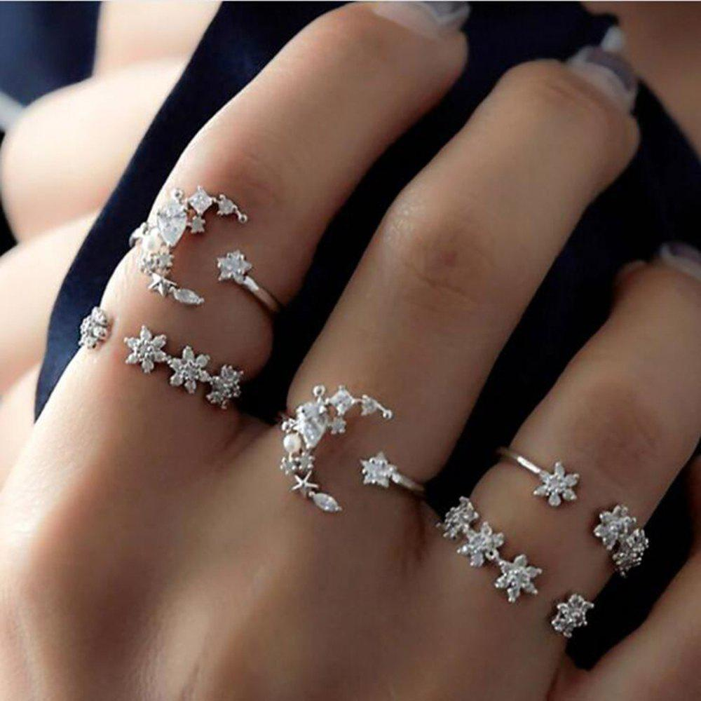 5-PIECE Women'S Fashion Star and Moon Diamond Set Ring