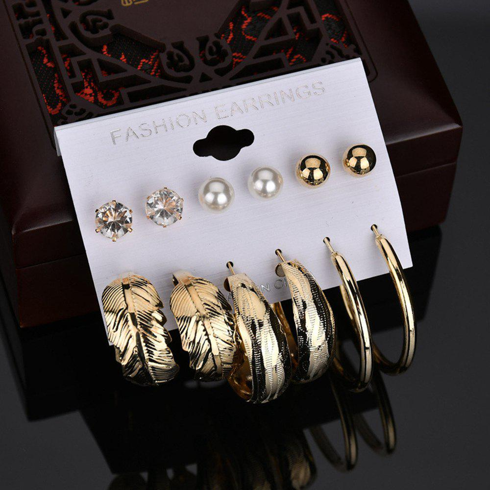 New 6 Pairs Women'S Fashion Trendy Personal Earring Set Leaf Ring Diamond Earrin