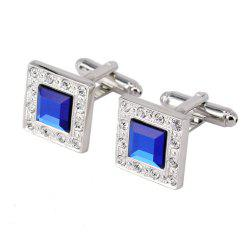 Silver Metal Square Blue Crystal Cufflinks for Men -