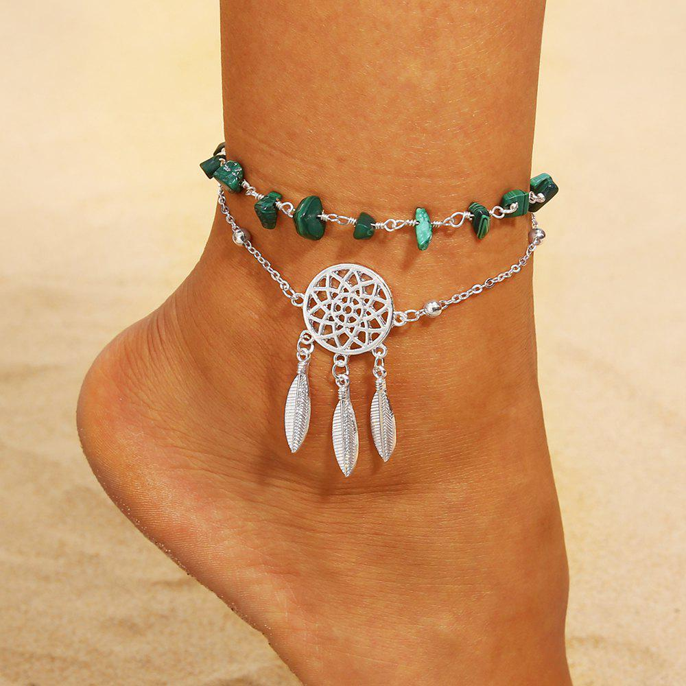 Buy Hollow Dreamcatcher Irregular Turquoise Anklet Feather Pendant