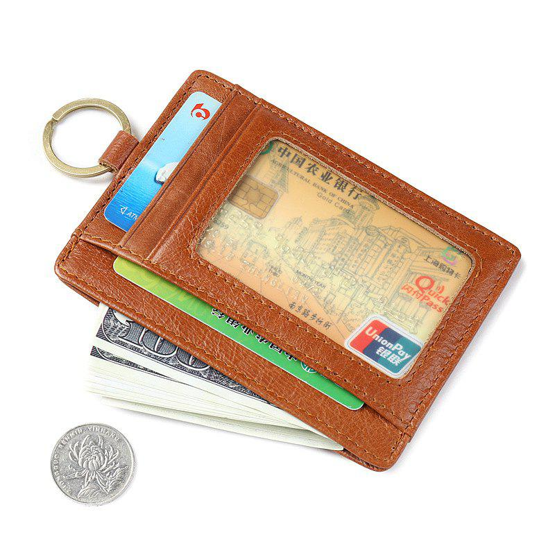 Cheap Genuine Leather Men Wallet Coin Purse Card Holder Male Clutch Clamp Key Chain