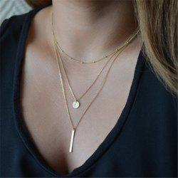 Fashion Bead Chain Sequins Metal Bar Multi-Layer Necklace -