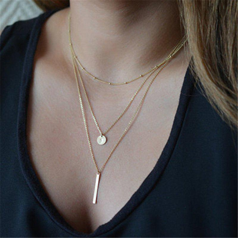 Latest Fashion Bead Chain Sequins Metal Bar Multi-Layer Necklace