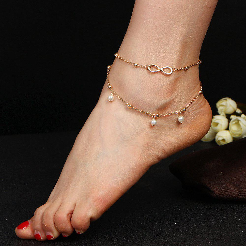Best Fashion Alloy 8 Word Infinite Beads Double-Layer Anklet