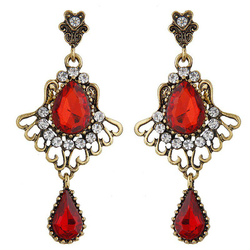 Best European Style Fashion Vintage Metal Red Drop Earrings