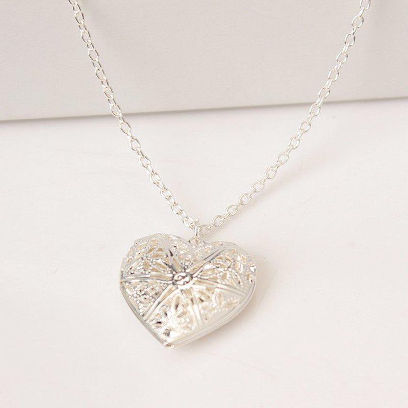 Trendy Fashion Hollow Heart Shaped Photo Box Necklace
