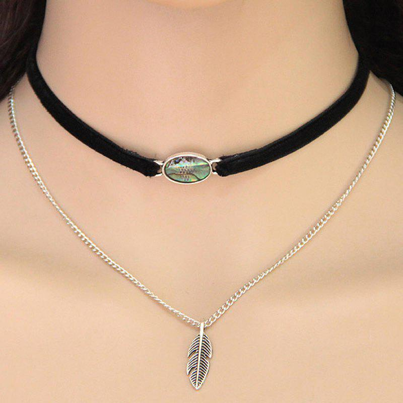 Store European Style Fashion Shell Leaf Double Layer Choker Necklace