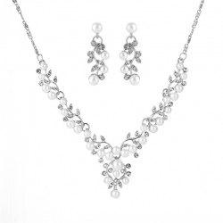 Fashion Shiny Rhinestones Necklace Earrings Bridal Wedding Dress Accessories -