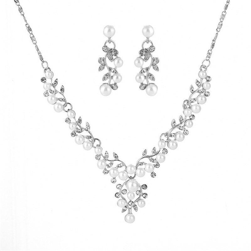Cheap Fashion Shiny Rhinestones Necklace Earrings Bridal Wedding Dress Accessories