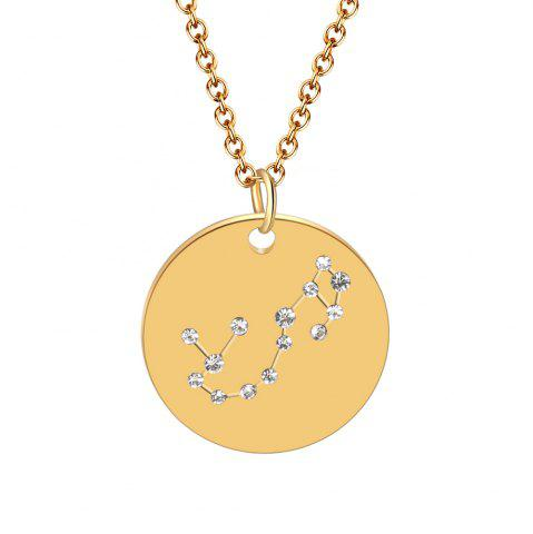 Constellation Jewelry Stainless Steel Crystal Pendant Necklace for Women Gold
