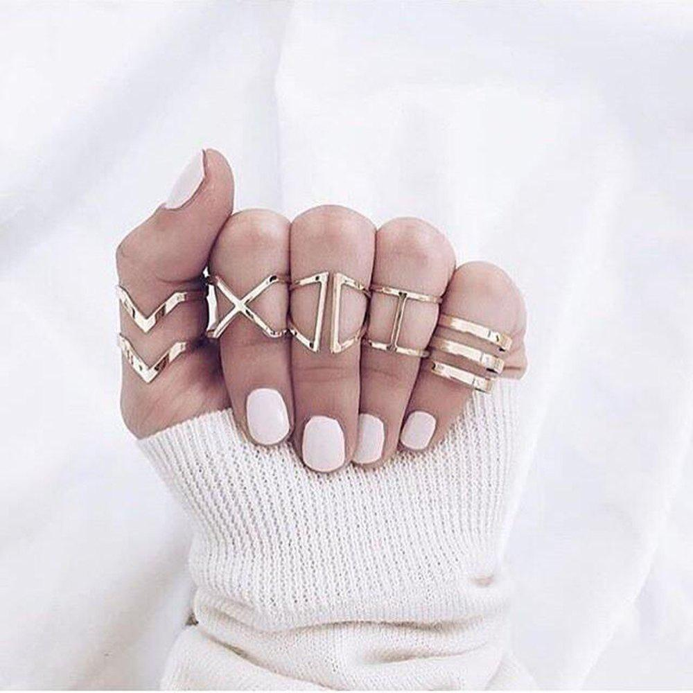 5 Piece Set Fashion Personality Hollowed-Out Women'S Multi-Layer Ring
