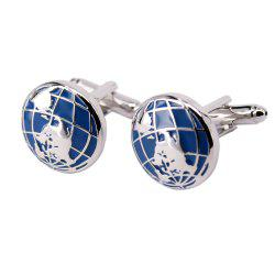 Alloy Material Electroplating Process Earth Shape Men'S Cufflinks -