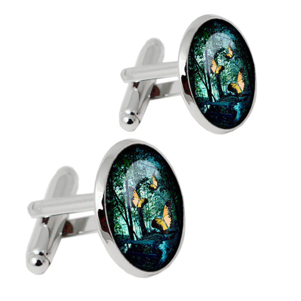 Online Alloy Material Oil Dripping Process Color Flying Butterfly Pattern Men Cufflinks