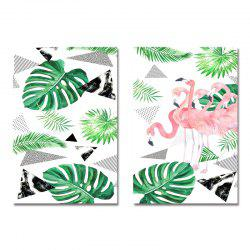 DYC 2PCS Nordic Flamingo Plants Print Art -