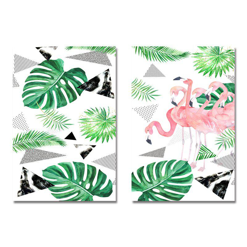 Affordable DYC 2PCS Nordic Flamingo Plants Print Art