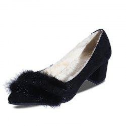 Pointed Hairy Highheeled Single Shoes -