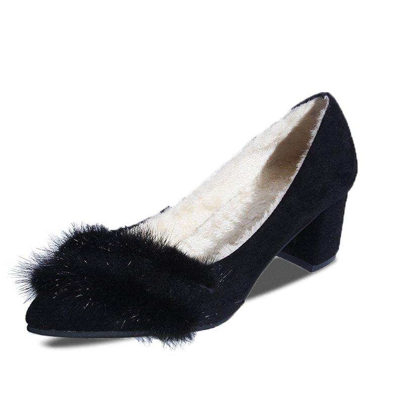Chic Pointed Hairy Highheeled Single Shoes