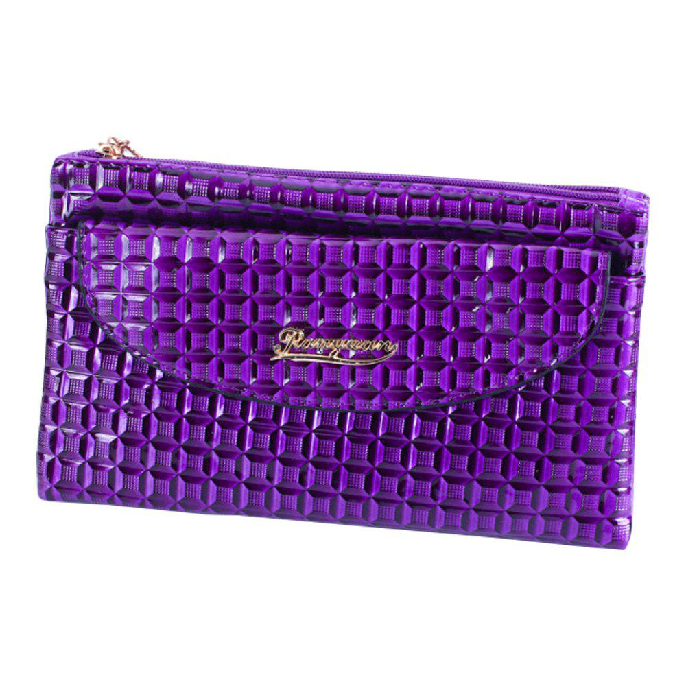 Latest New Fabric Women'S Wallet Embossed Lattice Double Zipper Shoulder Messenger Bag