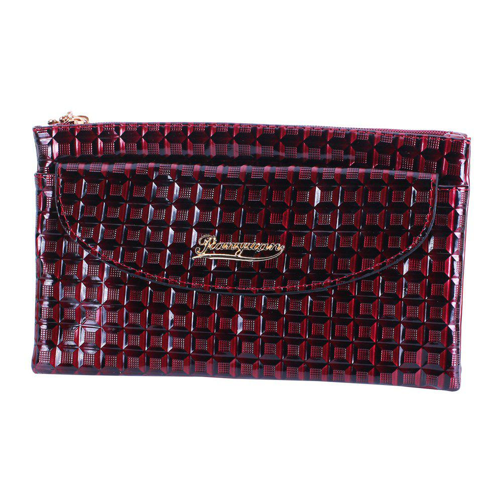 Outfits New Fabric Women'S Wallet Embossed Lattice Double Zipper Shoulder Messenger Bag
