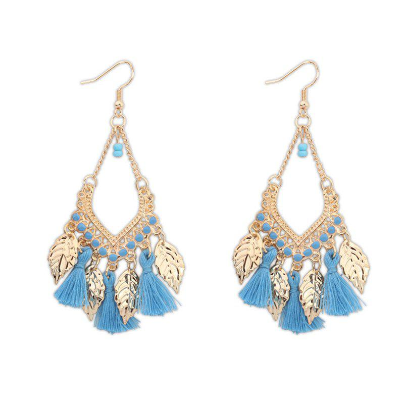 Unique Bohemian Fashion Leaf Tassel Drop Earrings