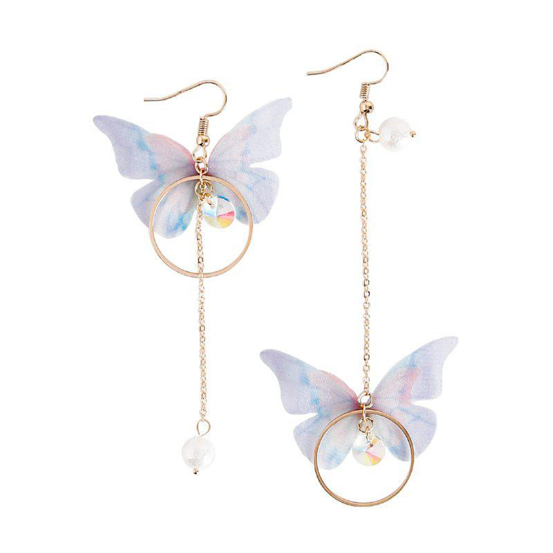 Fashion Fashion Vintage Butterfly Long Circle Wings Mismatch Earrings