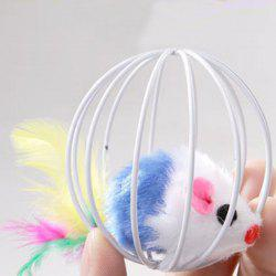 Cage Ball Cage with The Cat Toys with Feathers Rabbit Mouse in A Cage -