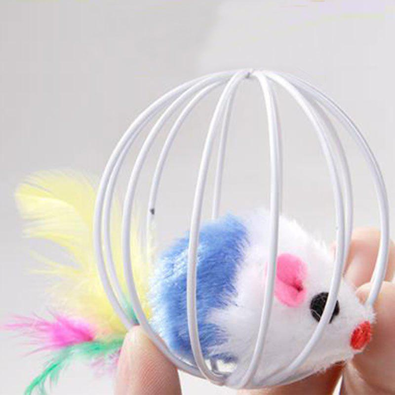 Cheap Cage Ball Cage with The Cat Toys with Feathers Rabbit Mouse in A Cage