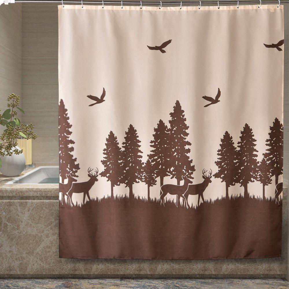 Cheap Deer Print Bathroom Partition Thick Waterproof Polyester Cloth Shower Curtain