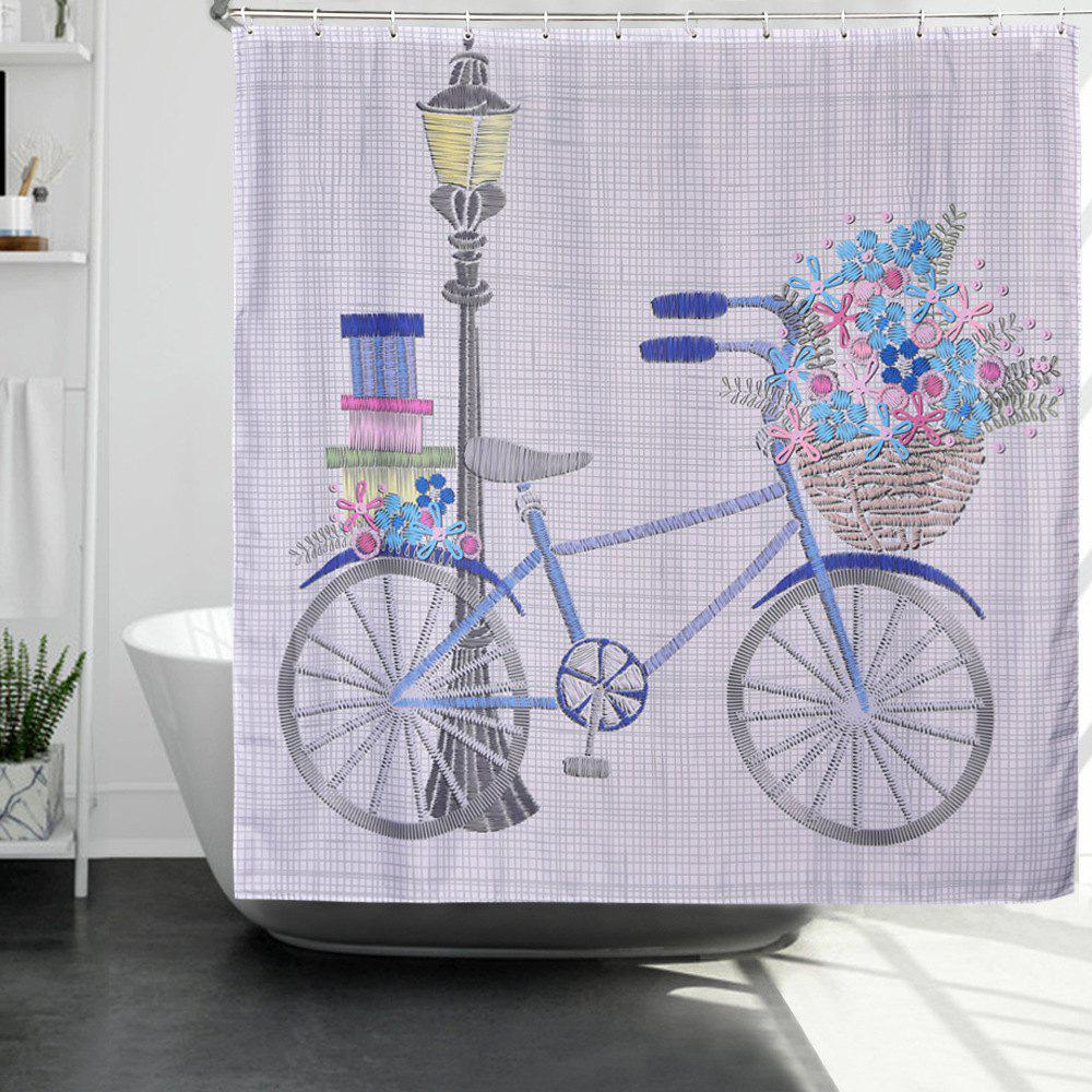 Latest Happy Bicycle Printing Polyester Waterproof Bathroom Curtain Mold