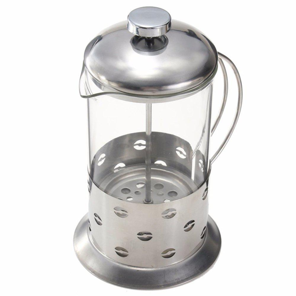 Fancy Stainless Steel Manual Pressure Glass Coffee Teapot