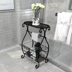 Wrought Iron Shelf Vantage Floor Holder Home Office Toilet Storage Rack Plant St -