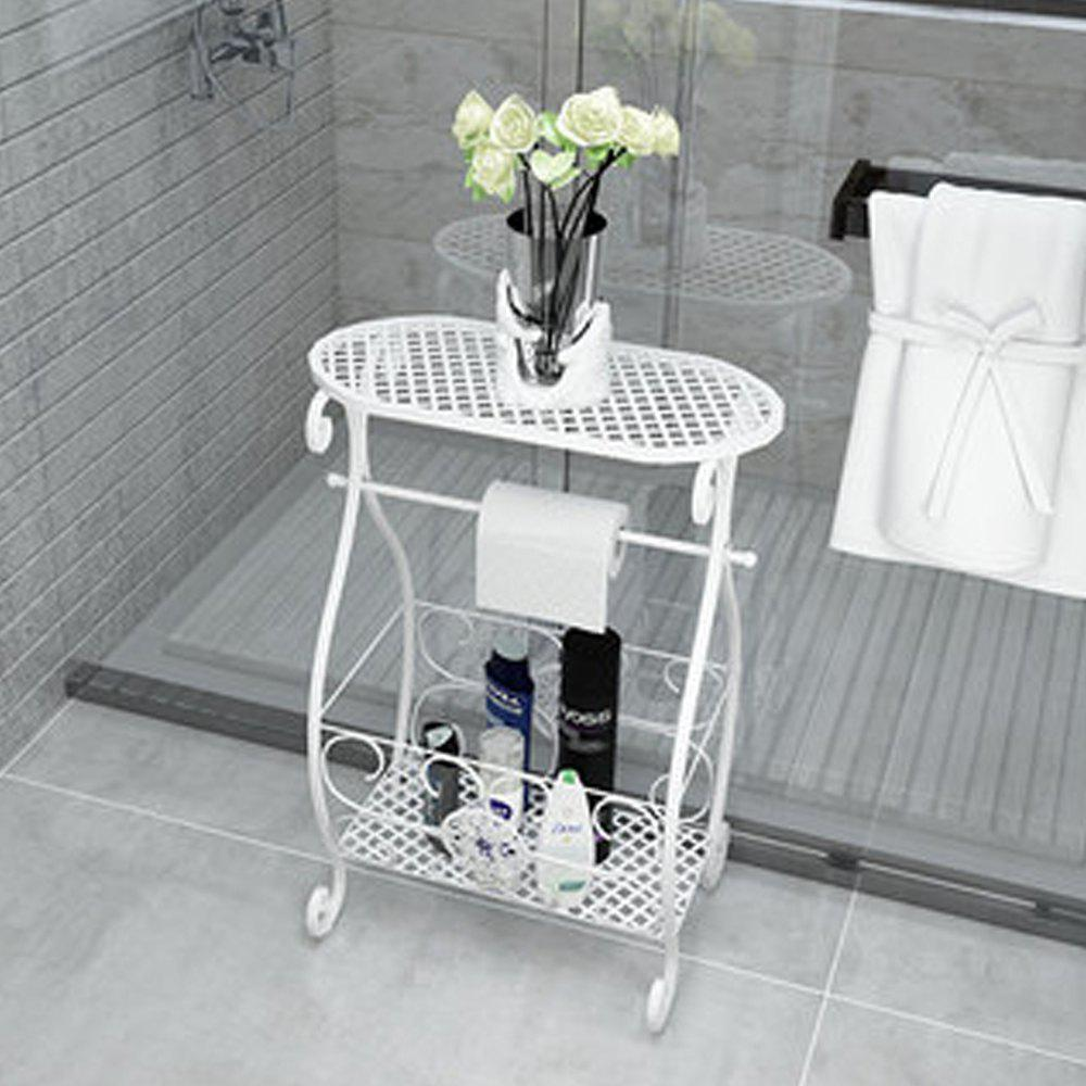 Affordable Wrought Iron Shelf Vantage Floor Holder Home Office Toilet Storage Rack Plant St