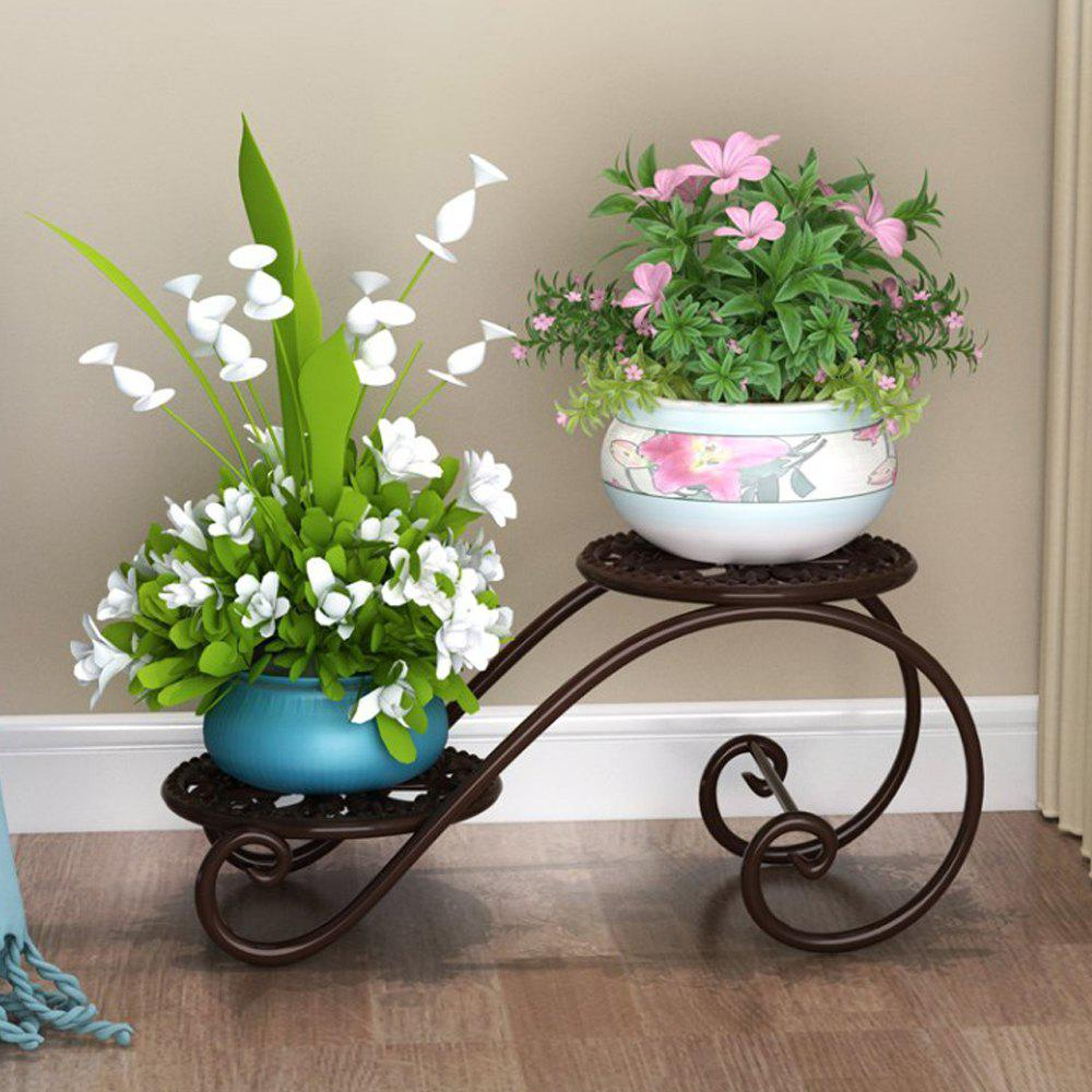 Buy 2 Teir Wrought Iron Flower Shelf Rack Floor Plant Holder Garden Decoration