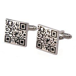 Alloy Material Paint Process Two-Dimensional Code Pattern Men Cufflinks -