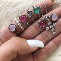Heart Cross Design 6PCS/Set Necklace Ring Set For Women -