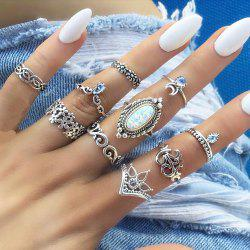 10 Pcs/Set Vintage Lotus Crown Opal Ring Set Women Crystal Handmade Sun Rings -