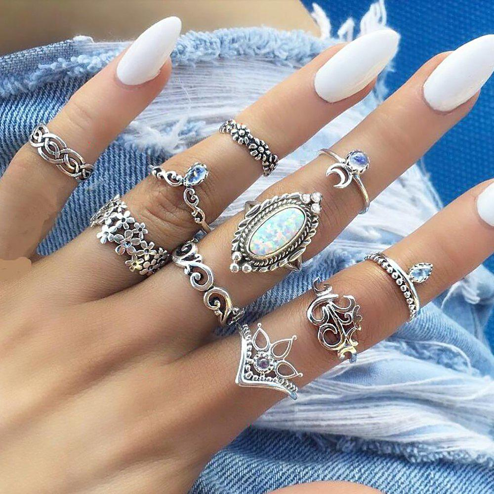 Best 10 Pcs/Set Vintage Lotus Crown Opal Ring Set Women Crystal Handmade Sun Rings