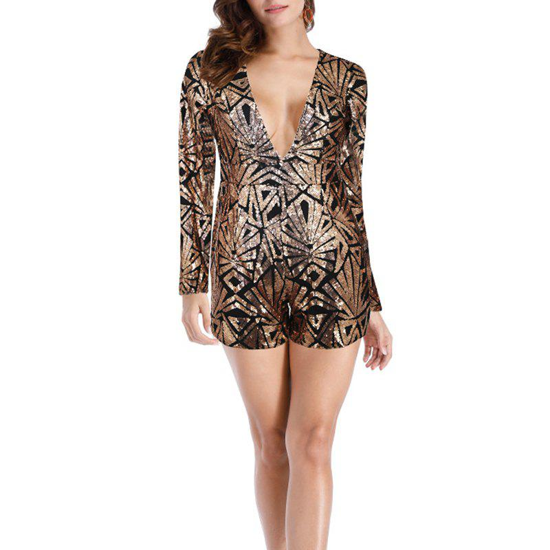 Affordable Fashion Sexy Deep V-Neck Long-Sleeved Sequins Bright Silk Nightclub Jumpsuit