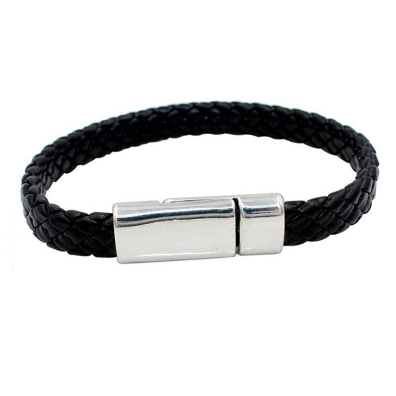 Buy Fashion Simple Men's Knitted Leather Tie Bracelet