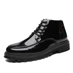 High-Top Men'S British Style Business Shoes Black Leather Shoes -