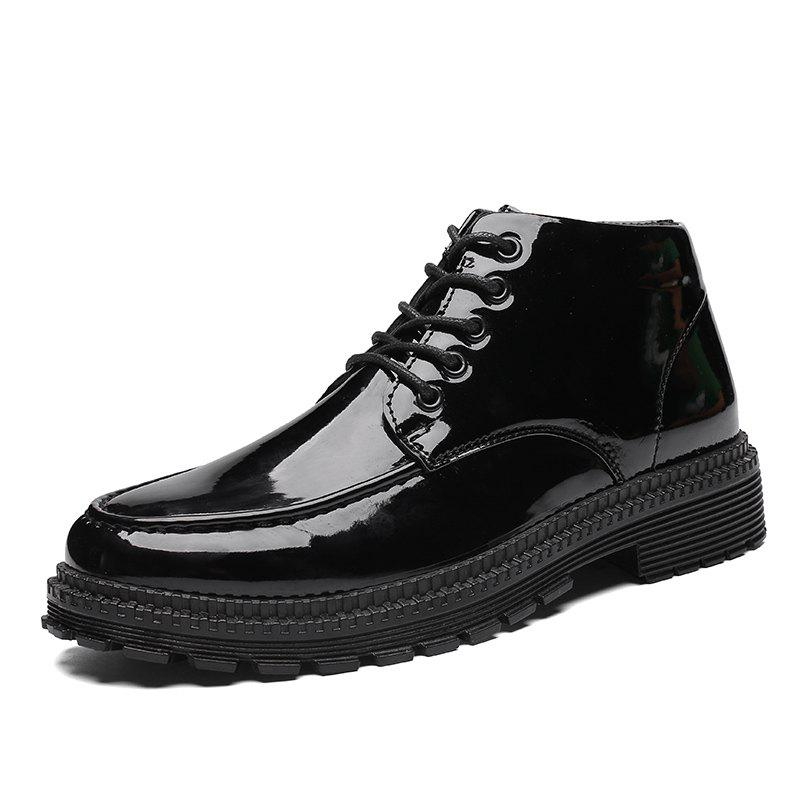 Latest High-Top Men'S British Style Business Shoes Black Leather Shoes