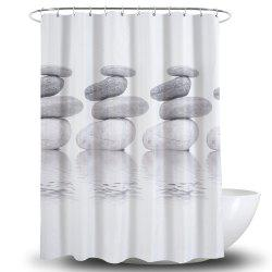 3D Goose Soft Stone Printing Polyester Waterproof Bathroom Curtain -