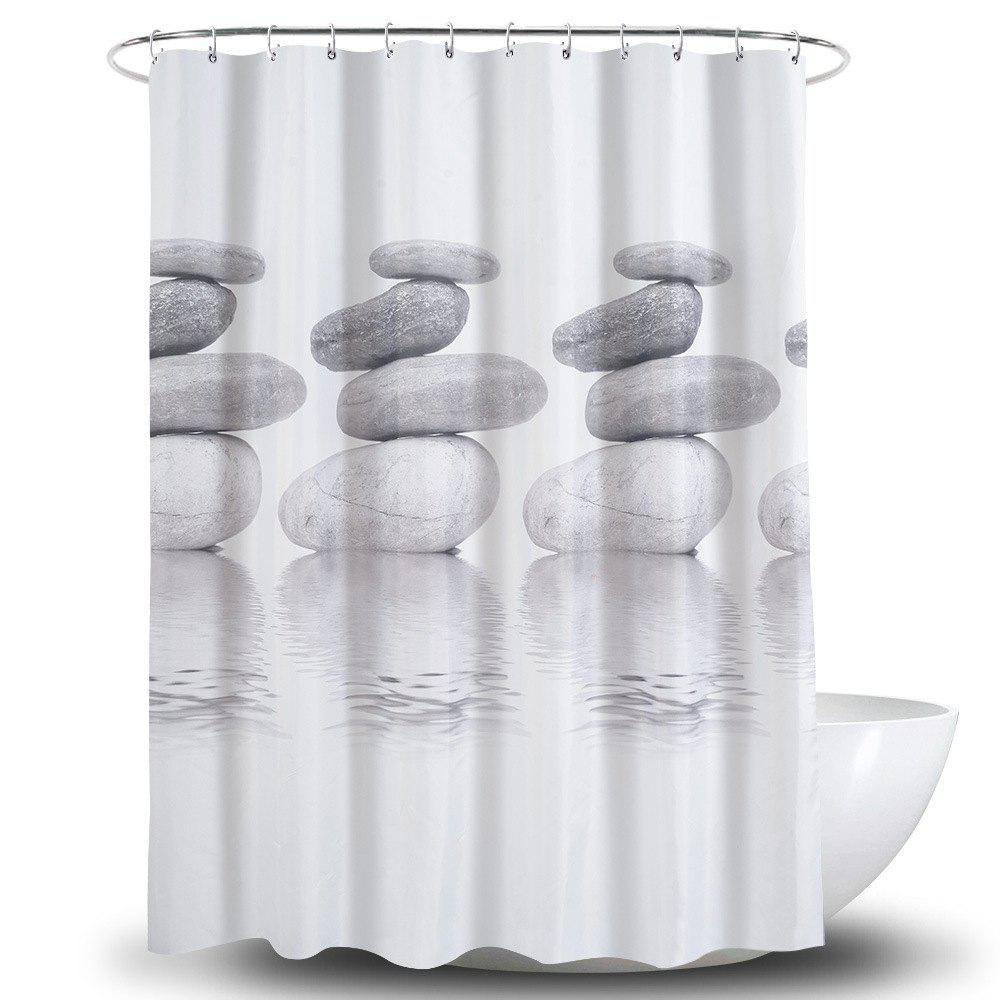 Outfit 3D Goose Soft Stone Printing Polyester Waterproof Bathroom Curtain