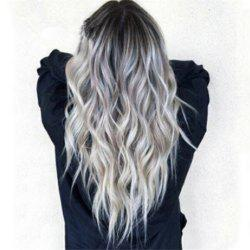 Bleaching Dyed Long Curly Hair COS Gray Gradient Female Chemical Fiber Hood -