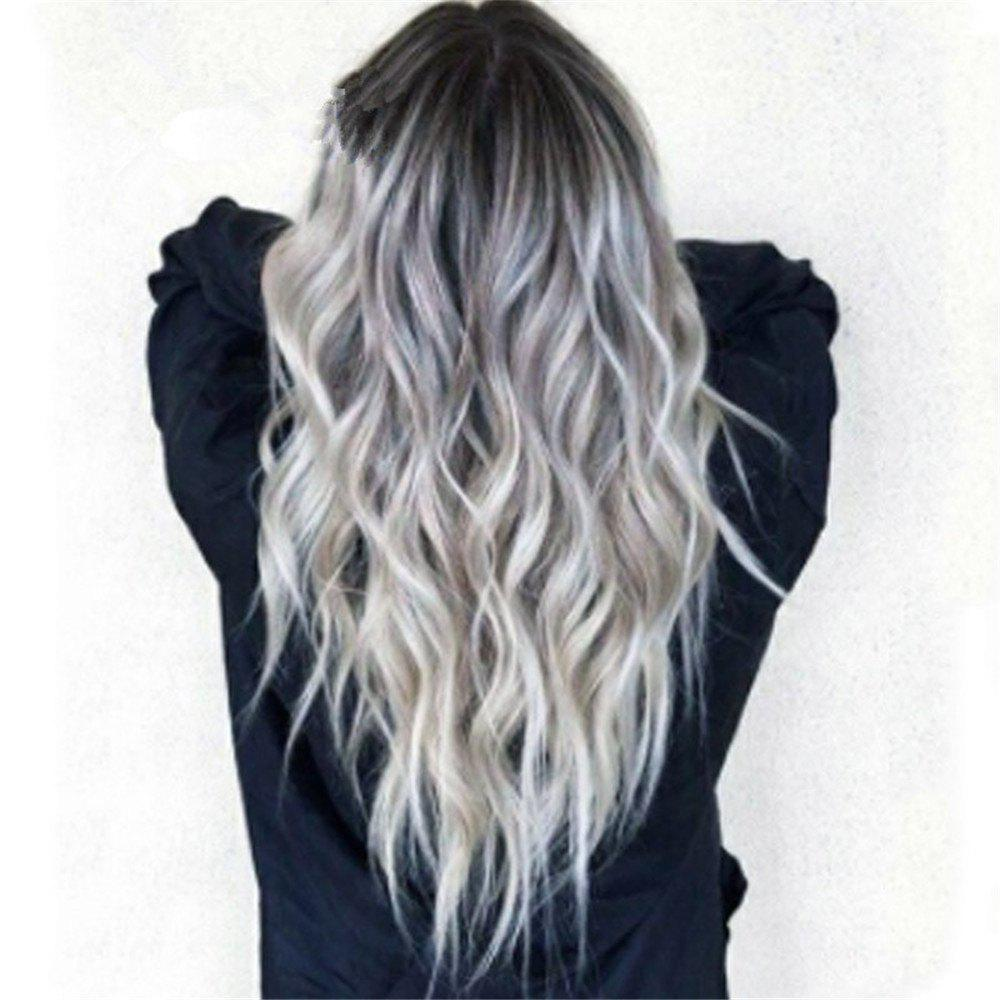 Fashion Bleaching Dyed Long Curly Hair COS Gray Gradient Female Chemical Fiber Hood